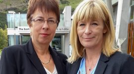 Janey and Lorraine Scottish Parliament for Lyme disease awareness