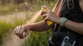 Image of woman applying bug spray